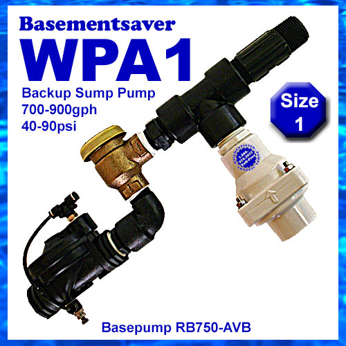 Basementsaver WPA1 Water Powered Backup Sump Pump With AVB Backflow Prevention